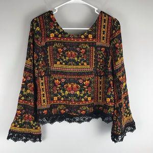 H&M Coachella floral print boho crochet blouse